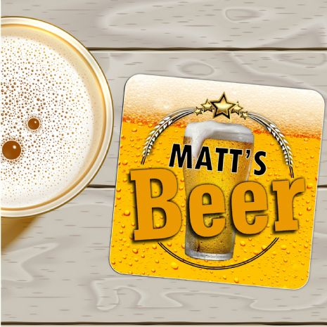 Personalised Coaster N5 - Birthday, Christmas Fathers Day Gift - ANY NAME'S BEER MAT